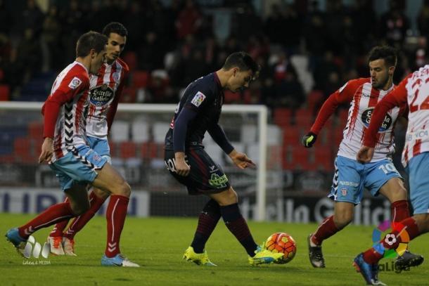 El Huesca logró puntuar el pasado fin de semana en Lugo  |  Fotografía: LFP