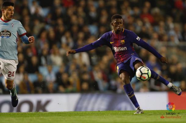 Dembélé dispara ante el Celta de Vigo. Foto: La Liga