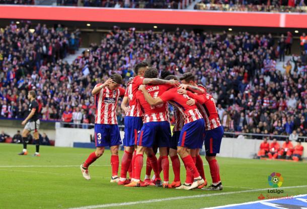 Celebración del Atlético de Madrid tras el 2-0 | LFP