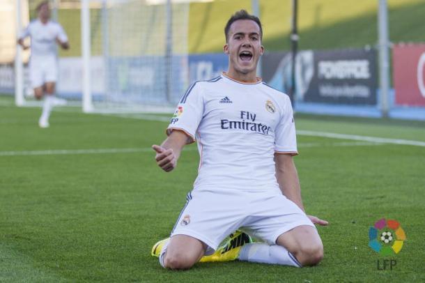 Lucas celebra un gol con el Castilla. Fuente: Real MAdrid