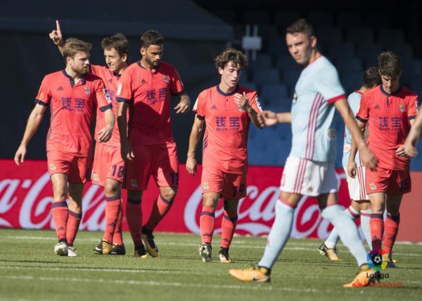 Los jugadores de la Real celebran el gol de Oyarzabal. Foto: LaLiga