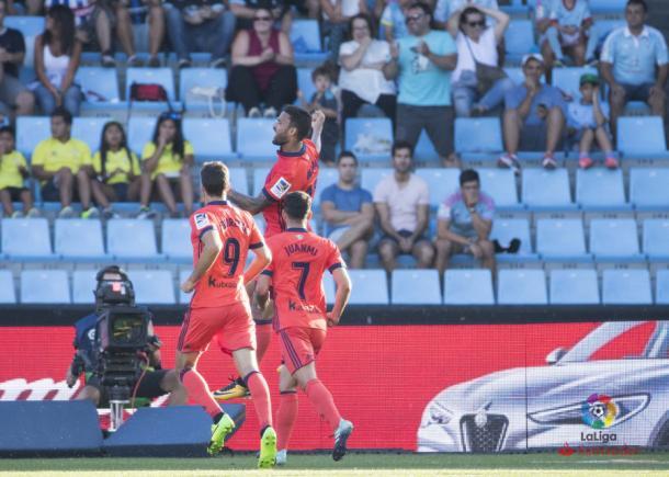 Los tres killers realistas celebran el gol de Willian José al Celta. Foto: LFP
