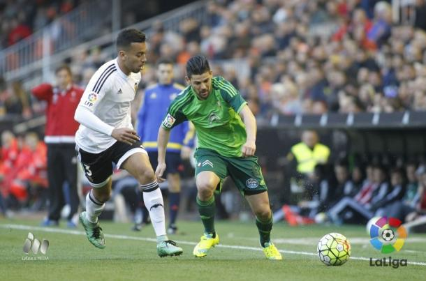 Nolito, en la victoria por 0-2 en Mestalla. Foto: lfp.es