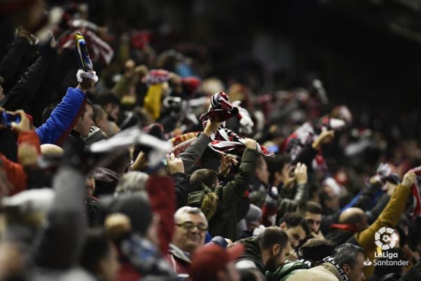 Aficionados del Rayo Vallecano celebrando un gol | Fotografía: La Liga