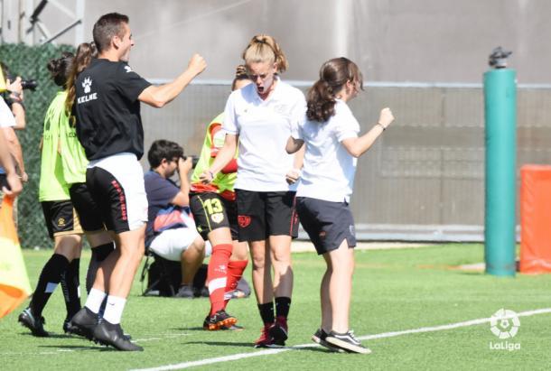 Irene Ferreras celebrando un gol | Fotografía: La Liga