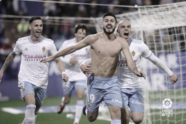 Celebración del 2-1 ante el Extremadura | Foto: LaLiga