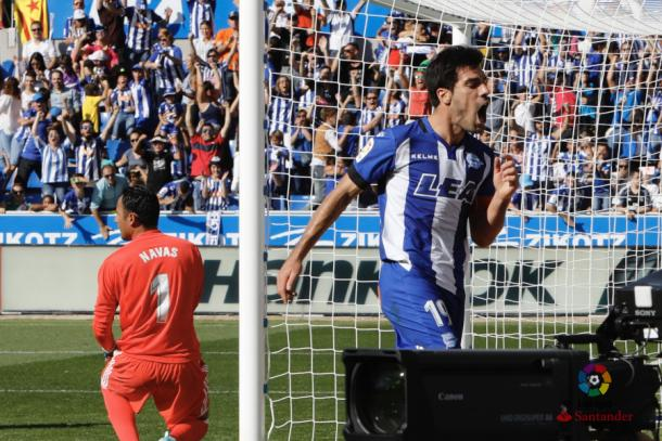 Manu celebra el gol logrado frente al Real Madrid  |  Fotografía: La Liga