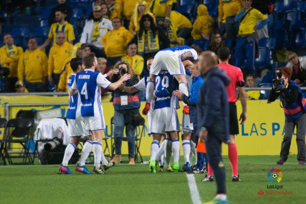 Los jugadores de la Real celebran el gol anotado ante el Las Palmas. Foto: LaLiga