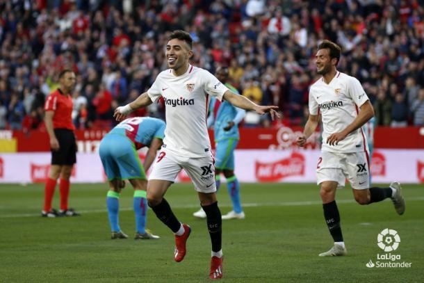 Munir celebrando uno de sus goles | Fotografía: La Liga
