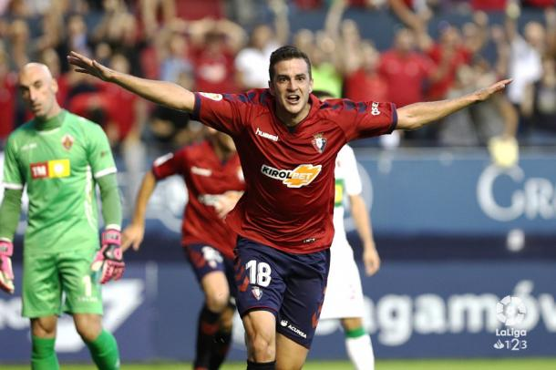 Juan Villar celebra el gol anotado frente al Elche. Foto: LaLiga 123