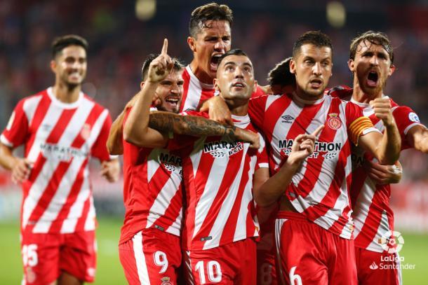 Borja García, Portu y compañía celebran un gol al Real Madrid I Foto: LaLiga