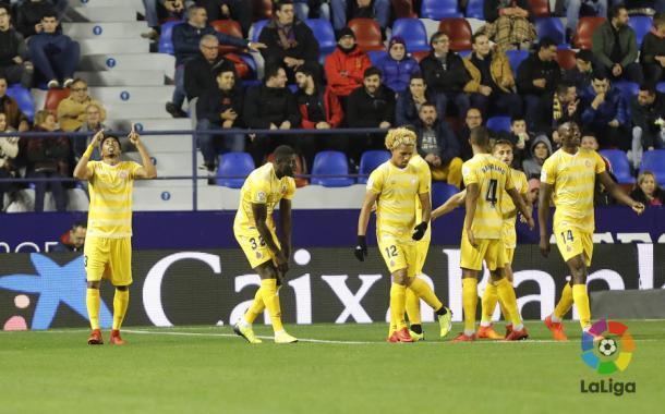 El gol de Mojica no fue suficiente para que el Girona se clasificase     Fotografía: La Liga