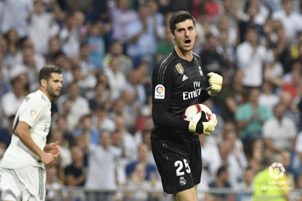 Courtois en un derbi contra el Atlético / Foto: LaLiga