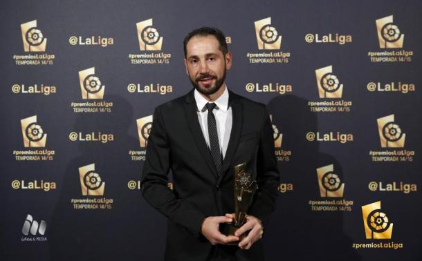 Machín tras recoger el premio a mejor entrenador de Segunda División de la temporada 2014/2015 | Foto: LaLiga