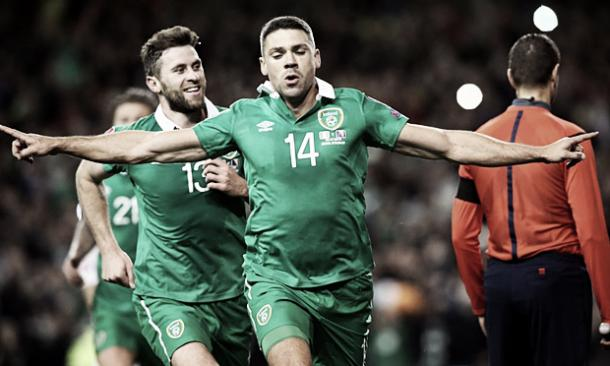 Walters celebrates after scoring two goals against Bosnia.