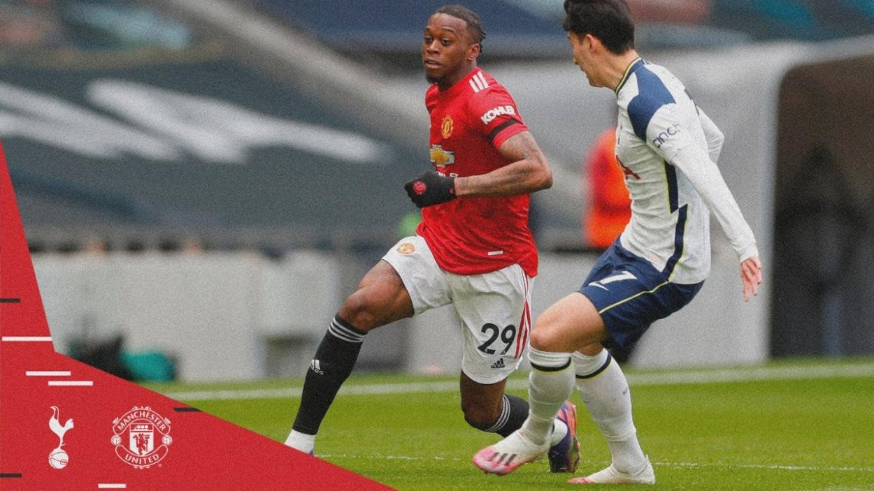 Aaron Wan-Bissaka contra Heung Min Son / Foto: Manchester United