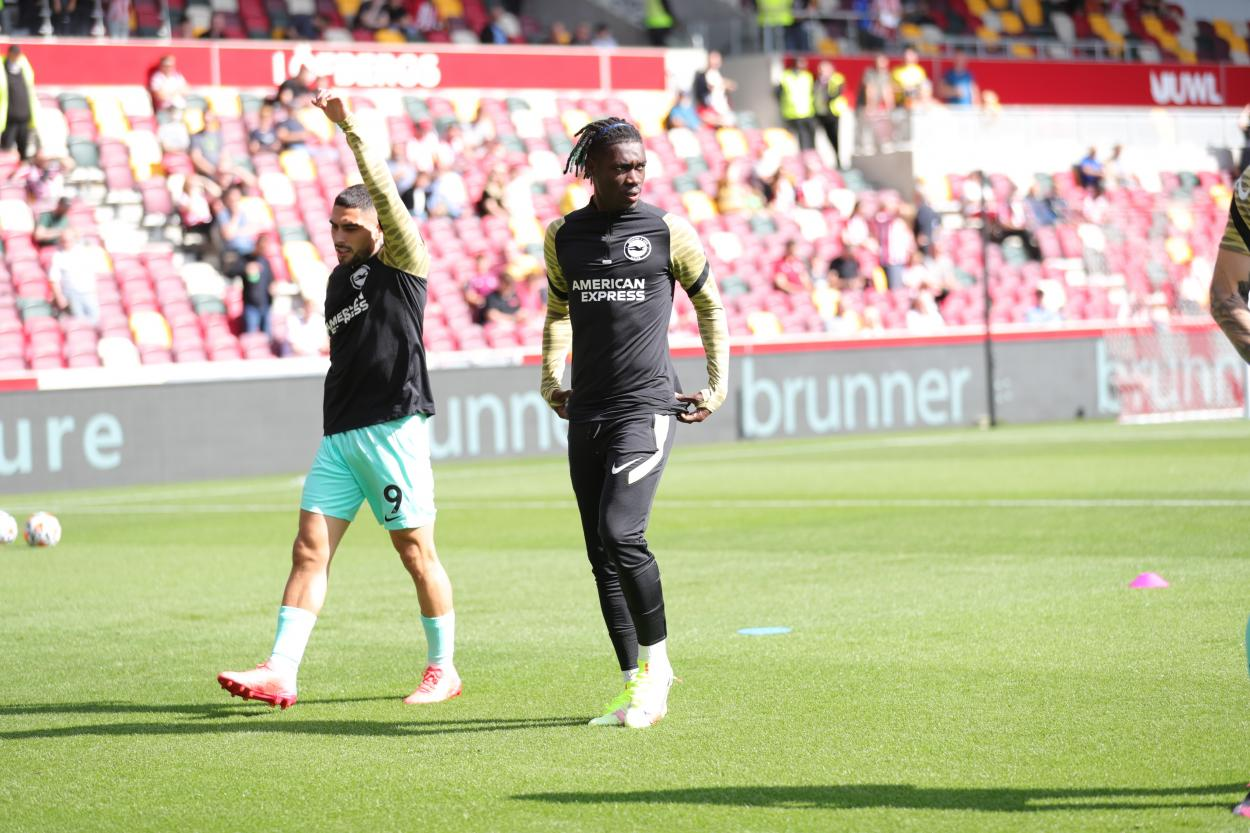 Yves Bissouma during the warm up.   Photo: Brighton & Hove Albion