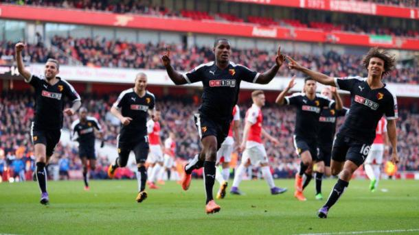 Odion Ighalo celebrates putting Watford in front at the Emirates just three weeks ago. (Picture: Sky Sports)