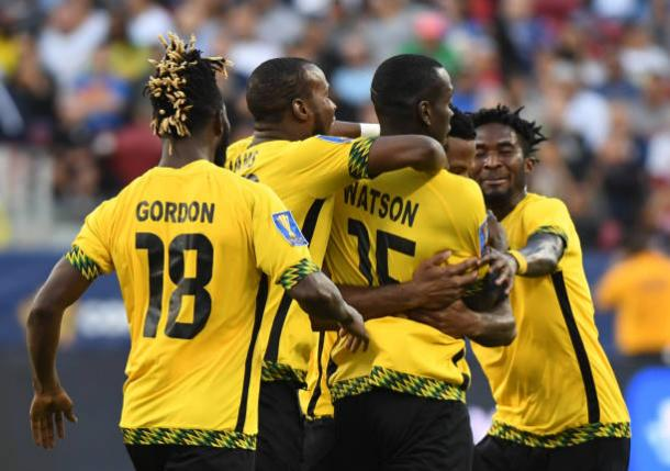 Je-Vaughn Watson levels the match for Jamaica | Photo: AFP