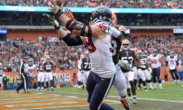 J.J. Watt caught three receiving touchdowns on offense in 2014   Jason Miller/Getty Images