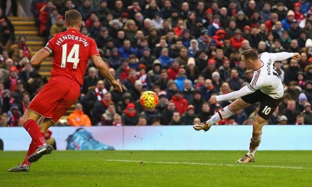 Wayne Rooney scoring the winner for United at Anfield in January | Photo: Getty Images