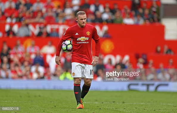 MANCHESTER, ENGLAND - MAY 21: Wayne Rooney of Manchester United looks on during the Premier League match between Manchester United and Crystal Palace at Old Trafford on May 21, 2017 in Manchester, England. (Photo by Dave Thompson/Getty Images)