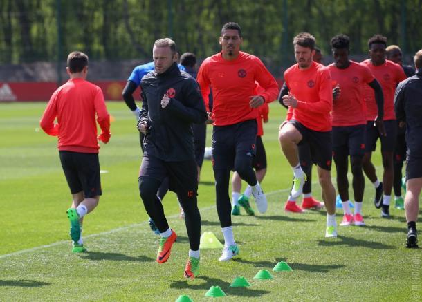 Rooney in allenamento - Foto MUFC Twitter
