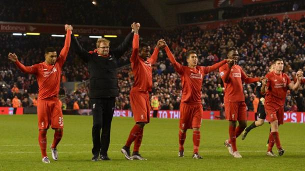 Klopp and co. thank the crowd for their support after the West Brom game. (Picture: Getty Images)