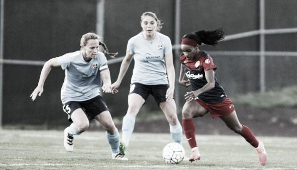 Crystal Dunn and Christie Rampone continue their rivalry Saturday night. (Photo credit: Washington Spirit)