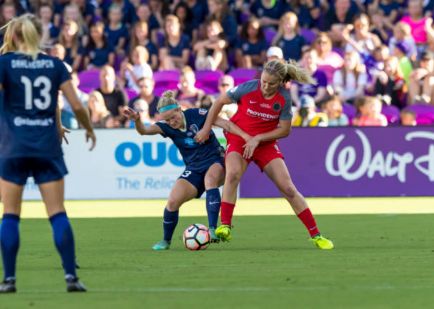 Portland midfielder Lindsey Horan battles with North Carolina forward Kristen Hamilton in the 2017 NWSL Championship Game. |