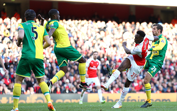 Welbeck's thunderous strike foiled Ruddy and nestled into the bottom corner. | Photo: Getty
