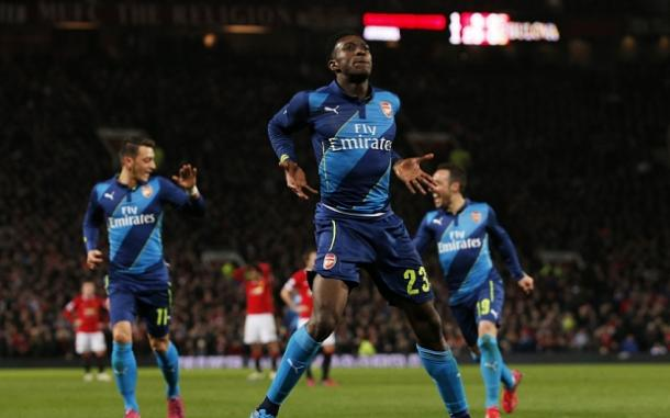Welbeck celebrates his winner against United last season (photo: getty)