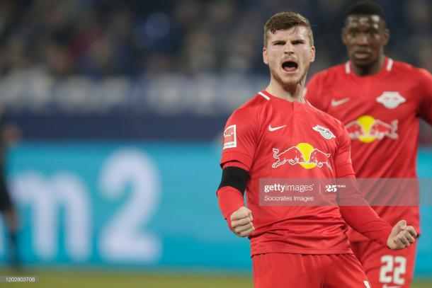 Timo Werner celebrating for RB Leipzig | Photo: Getty Images