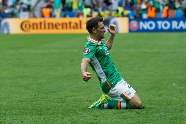 Hoolahan celebrates his goal against Sweden (photo; Getty Images)