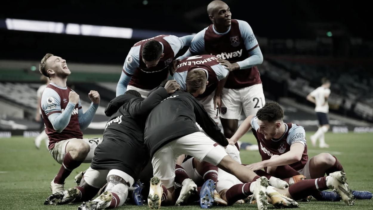 La euforia de los jugadores del West Ham tras la machada ante el Tottenham./ Foto: Premier League