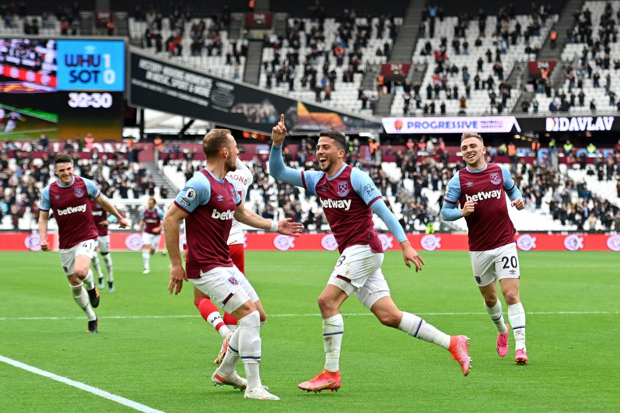Fornals celebrando su primer gol de la tarde / Foto: Premier League