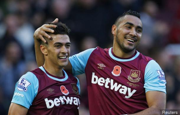 Above: Manuel Lanzini and Dimitri Payet in action for West Ham last season | Photo: Getty Images