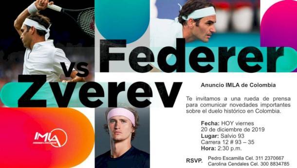 Anuncio de rueda de prensa por parte de IMLA de Colombia, empresa organizadora del evento, en torno a la visita de Roger Federer al país. Imagen: Publimetro.