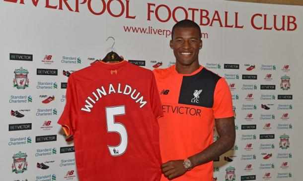 Wijnaldum will wear the No.5 shirt at Liverpool. (Picture: Liverpool FC via Getty Images)