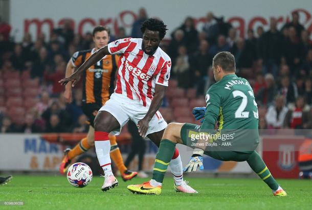 Wilfried Bony has yet to solve Stoke City's goalscoring problems since arriving on loan from Manchester City on transfer deadline day. | Photo: James Baylis - AMA/Getty Images