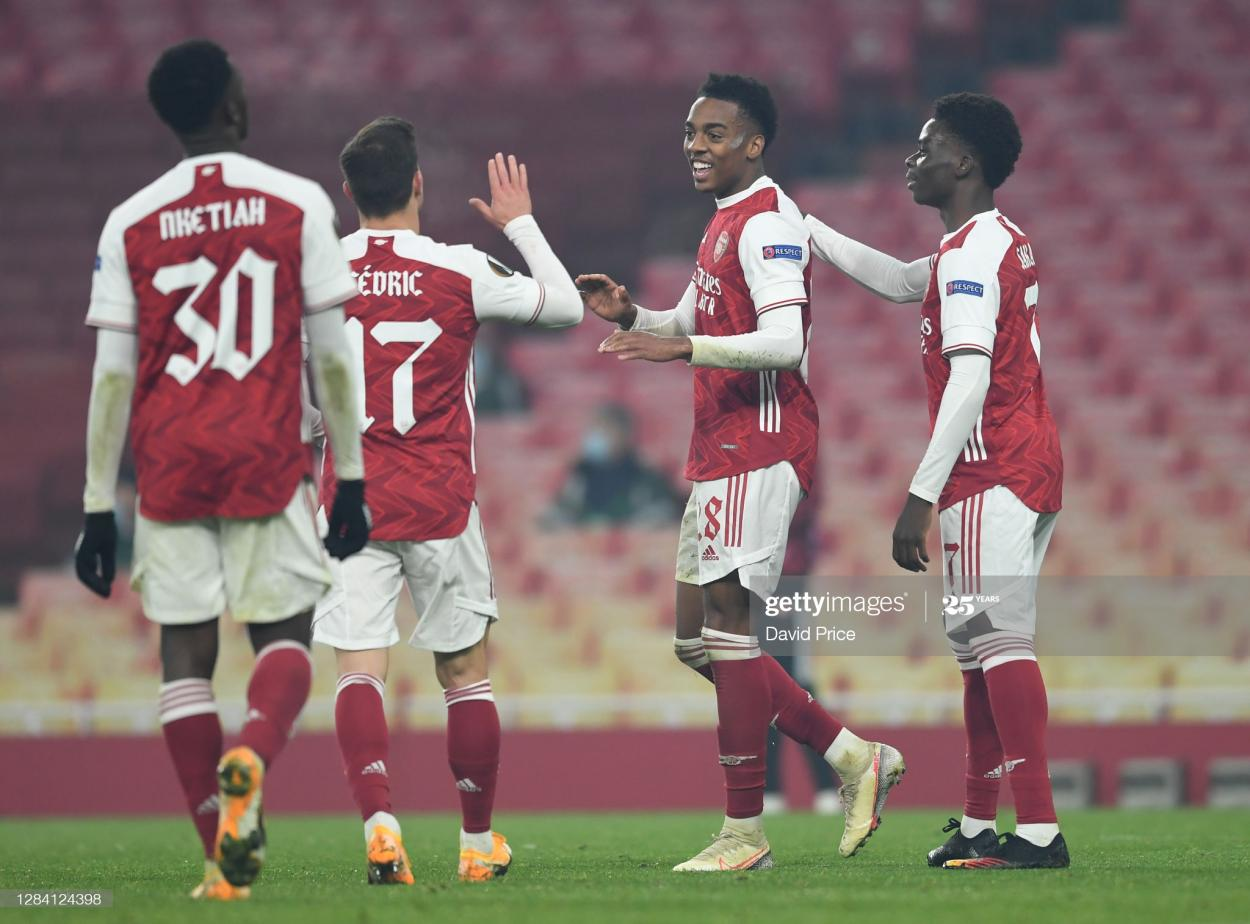 Joe Willock celebrates after his goal against Molde on Thursday (Photo by David Price via Getty Images)