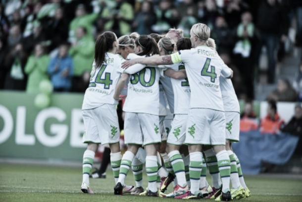Wolfsburg celebrate during their emphatic win last week. (Photo: UEFA)