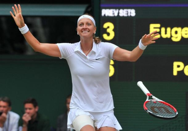 Kvitova defeated Genie Bouchard in the 2014 Wimbledon finals to claim her 2nd Grand Slam title. (Credit: Glyn Kirk/Agence France-Presse/Getty Images)