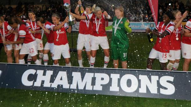 Arsenal, celebrate the last time they were crowned WSL champions in 2012. Are the glory days over? | Credit: SkySports