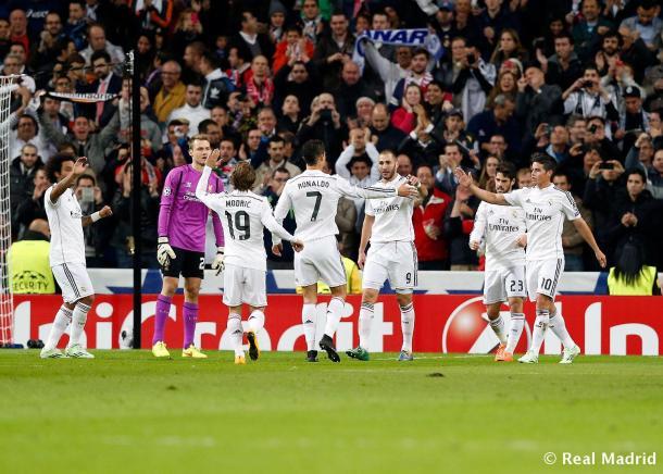 El Real Madrid celebra su único tanto en el encuentro. | Imagen: www.realmadrid.com