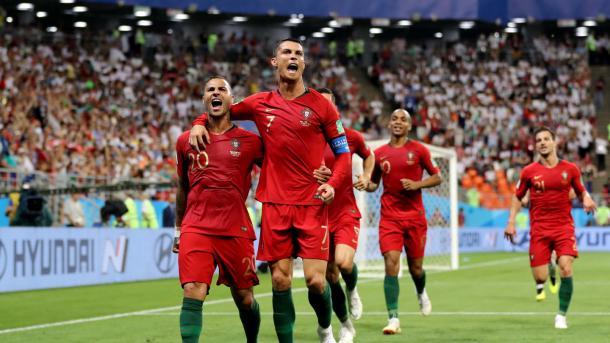 Ricardo Quaresma and Cristiano Ronaldo celebrate Portugal's opening goal | Source: Getty Images via FIFA.com