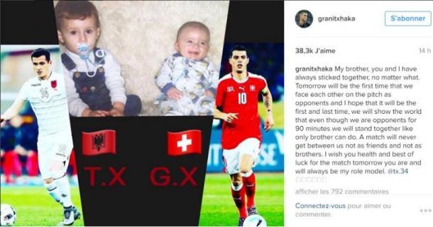 Message posté par Granit Xhaka sur instagram.