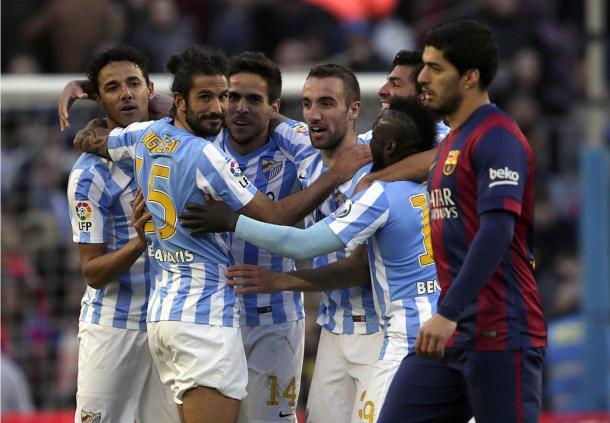 El Málaga CF asalta el Camp Nou con un gol de Juanmi. Fotografía: Málagapasion.es