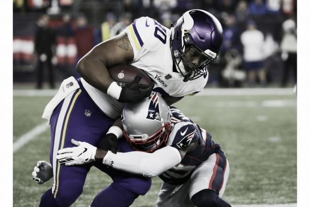 Diggs recibió para 49 yardas, Rudolph 38 y Thielen 28. Sin duda se vieron superados por los DBs de New England | Patriots.com