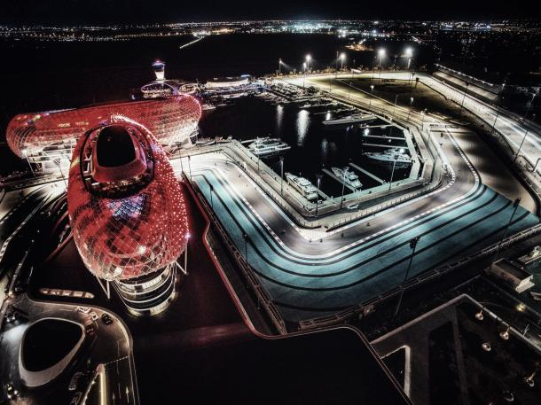 Vista aérea del circuito de Yas Marina | Foto: @nicorosberg